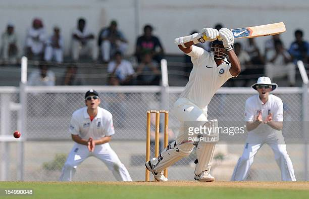 India A cricketer Abhinav Mukund bats during the first day of a threeday practice match between India A and England at the Cricket Club of India...