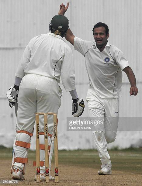 India A team bowler Irfan Pathan celebrates after Kenya's batsman David Obuya was caught by wicketkeeper Mahesh Rawat 10 August 2007 and went out for...