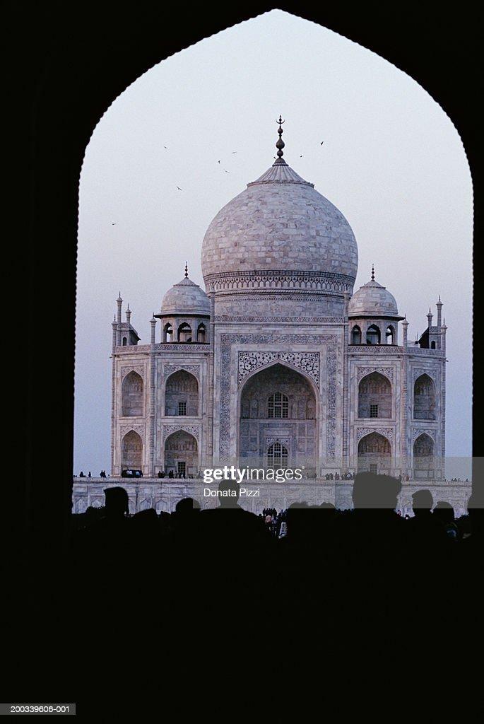 India Agra Taj Mahal And Tourists View Through Gateway