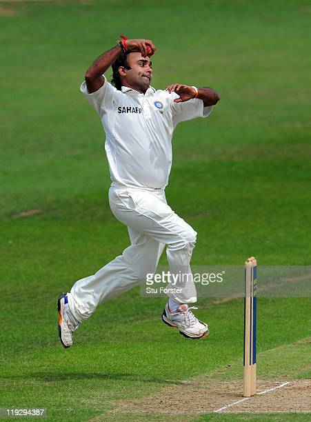 India Amit Mishra in action during day three of the tour match between Somerset and India at the county ground on July 17 2011 in Taunton England
