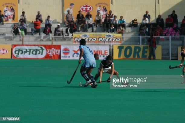 India and Azerbaijan players in action during Lal Bahadur Shastri four nation hockey tournament at Shivaji stadium in New Delhi on Tuesday