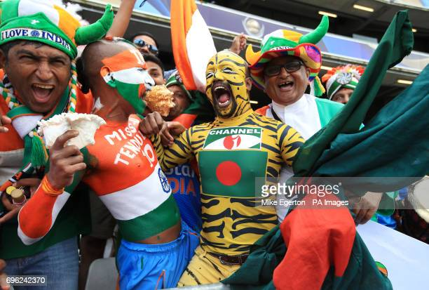 India and Bangladesh fans in good spirits in the stands during the ICC Champions Trophy semifinal match at Edgbaston Birmingham