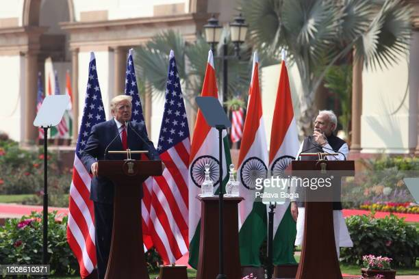 """India and United States of America Summit meeting as part of President of USA Mr Donald Trump""""u2019s first visit to India. Prime Minister of India Mr..."""