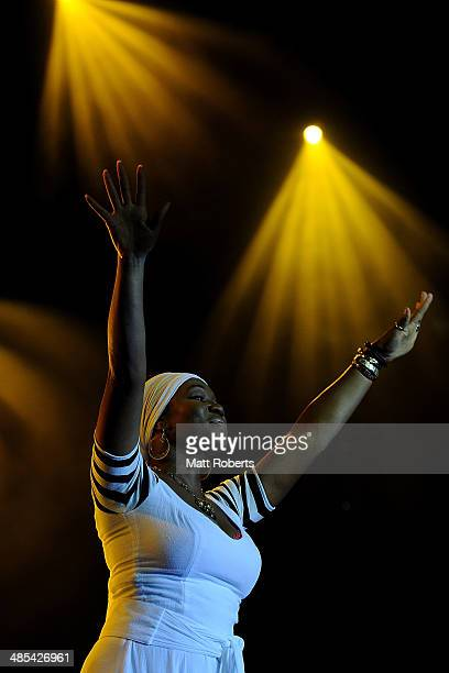India Arie performs live for fans at the 2014 Byron Bay Bluesfest on April 18 2014 in Byron Bay Australia