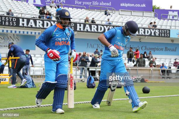 India A's openners Prithvi Shaw and Mayank Agarwal walk out to bat during a tour match between ECB XI v India A at Headingley on June 17 2018 in...
