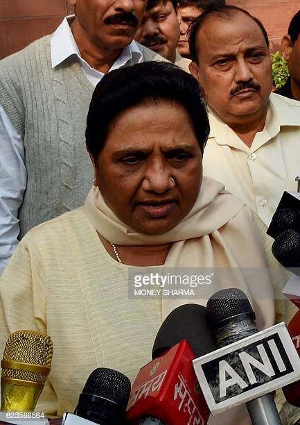 India Bahujan Samaj Party Leader Mayawati speaks to the media after arriving for the winter session of Parliament in New Delhi on November 16 2016 /...