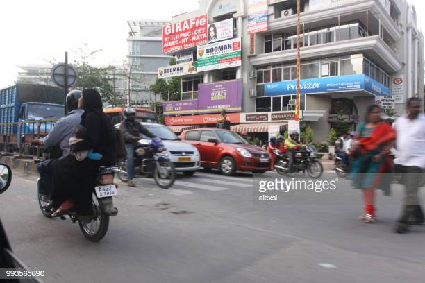 india bangalore city street traffic jam rush hour - emerging markets stock photos and pictures