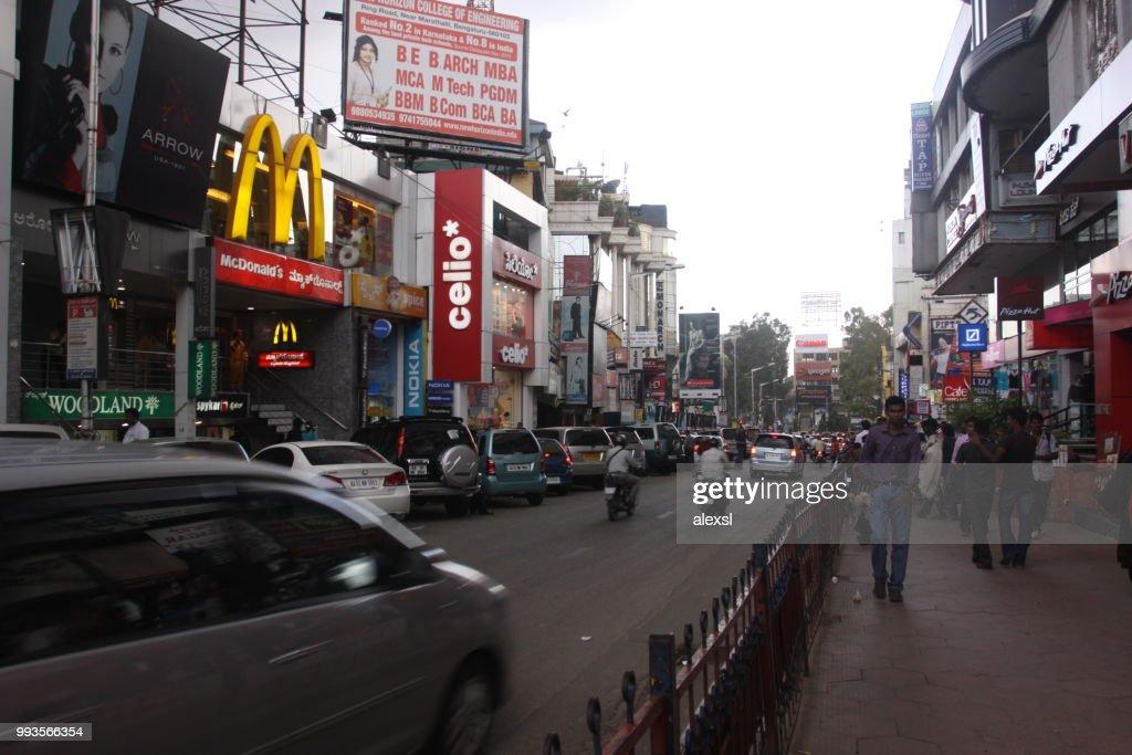India Bangalore city street traffic jam rush hour : Stock Photo