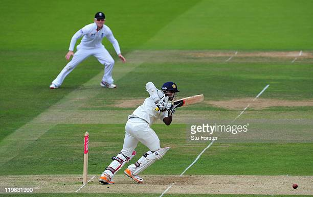 India batsman Abhinav Mukund picks up some runs during day three of the 1st npower test match between England and India at Lords on July 23 2011 in...
