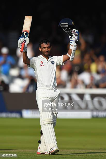India batsman Ajinkya Rahane celebrates after reaching his century during day one of 2nd Investec Test match between England and India at Lord's...