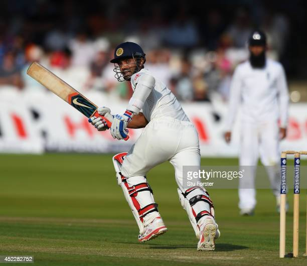India batsman Ajinkya Rahane picks up some runs during day one of 2nd Investec Test match between England and India at Lord's Cricket Ground on July...