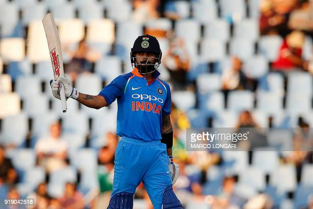 India batsman and captain Virat Kohli celebrates his half century during the sixth One Day International cricket match between South Africa and India...