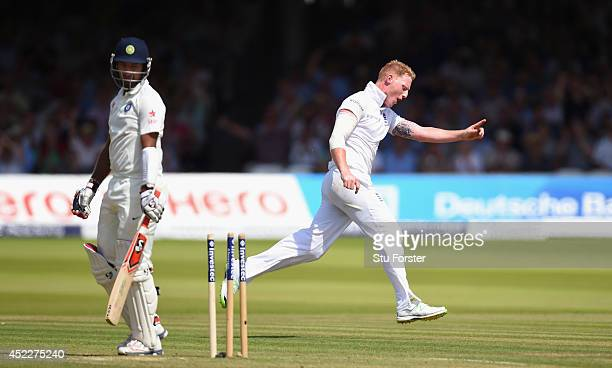 India batsman Cheteshwar Pujara is dismissed by Ben Stokes during day one of 2nd Investec Test match between England and India at Lord's Cricket...