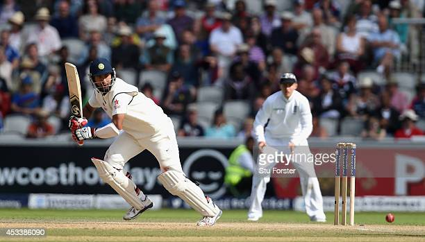 India batsman Cheteshwar Pujara picks up some runs during day three of the 4th Investec Test match between England and India at Old Trafford on...