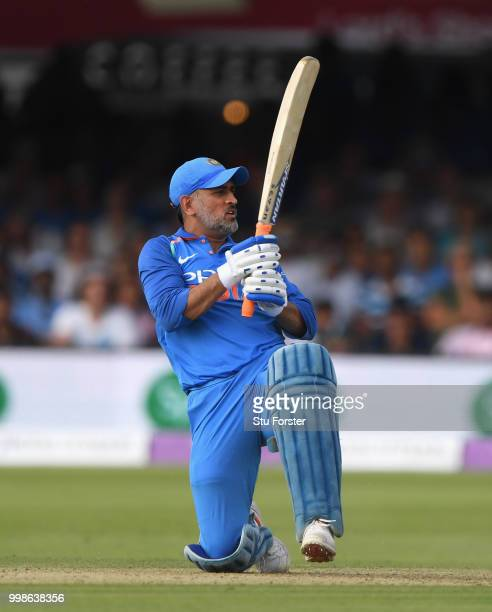 India batsman MS Dhoni bats during the 2nd ODI Royal London One Day International match between England and India at Lord's Cricket Ground on July 14...