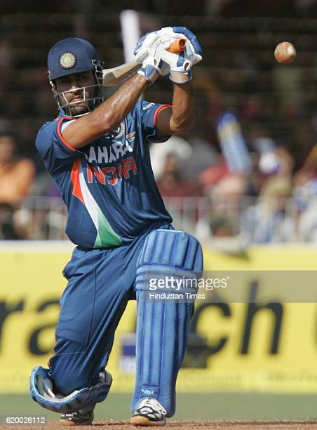 India batsman MS Dhoni bats during the first ODI between India and Australia on Sunday at Reliance Cricket Ground Vadodara