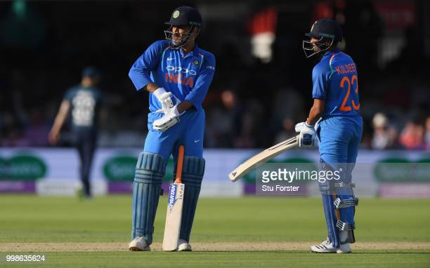 India batsman MS Dhoni takes a breather during the 2nd ODI Royal London One Day International match between England and India at Lord's Cricket...