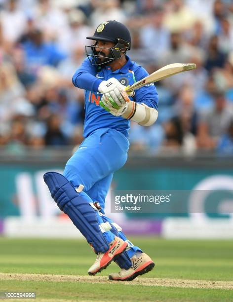 India batsman Dinesh Karthik picks up some runs during 3rd ODI Royal London One Day match between England and India at Headingley on July 17 2018 in...