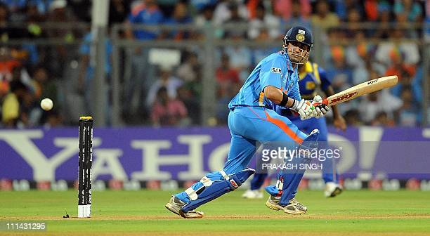 India batsman Gautam Gambhir plays a shot during the final match of the ICC Cricket world Cup 2011 between India and Sri Lanka at The Wankhede...