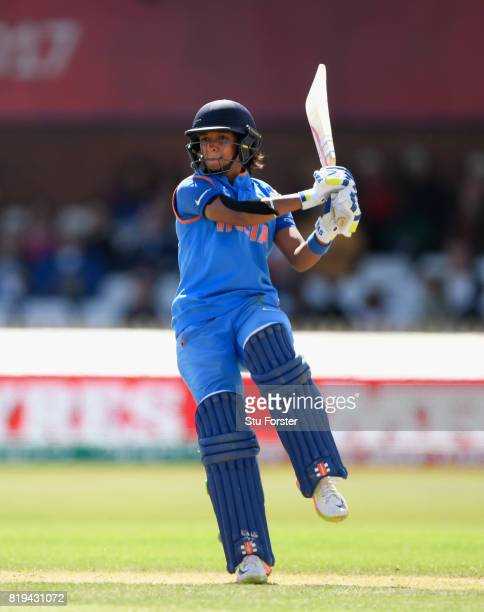 India batsman Harmanpreet Kaur hits out during the ICC Women's World Cup 2017 SemiFinal match between Australia and India at The 3aaa County Ground...