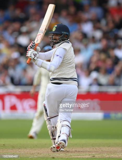 India batsman Jasprit Bumrah hits out during day three of the First Test Match between England and India at Trent Bridge on August 06, 2021 in...