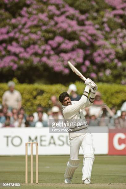 India batsman Kapil Dev hits out during his 175 not out during the 1983 World Cup group match against Zimbabwe at Nevill Ground, on June 18, 1983 in...