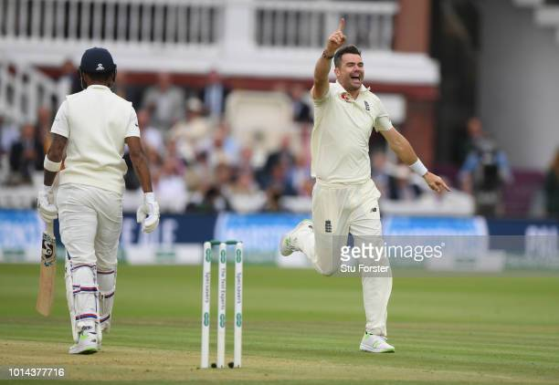 India batsman Lokesh Rahul is dismissed by James Anderson during day two of the 2nd Specsavers Test Match between England and India at Lord's Cricket...