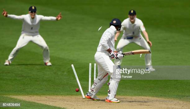 India batsman Manjot Kalra is bowled by England bowler Ryan Patel as the slips celebrate during day one of the Second Under 19s Youth Test Series...
