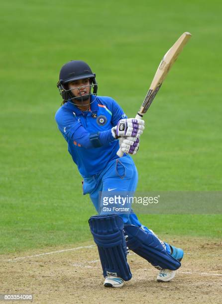 India batsman Mithali Raj hits out during the ICC Women's World Cup 2017 match between West Indies and India at The County Ground on June 29 2017 in...