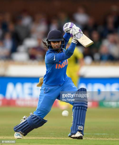 India batsman Mithali Raj hits out during the ICC Women's World Cup 2017 SemiFinal match between Australia and India at The 3aaa County Ground on...