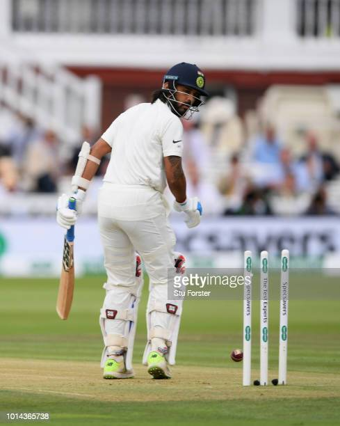 India batsman Murali Vijay is bowled by James Anderson during day two of the 2nd Specsavers Test Match between England and India at Lord's Cricket...