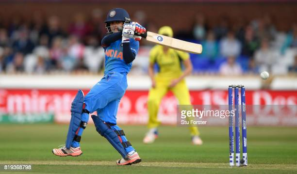 India batsman Poonam Raut hits out during the ICC Women's World Cup 2017 SemiFinal match between Australia and India at The 3aaa County Ground on...