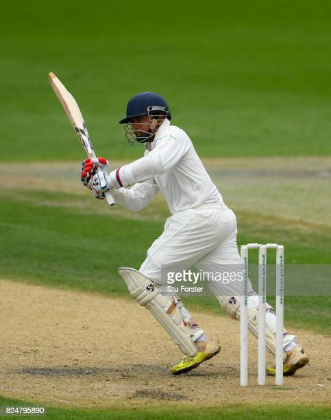 India batsman Prithvi Shaw picks up some runs during his half century during day one of the Second Under 19s Youth Test Series between England and...
