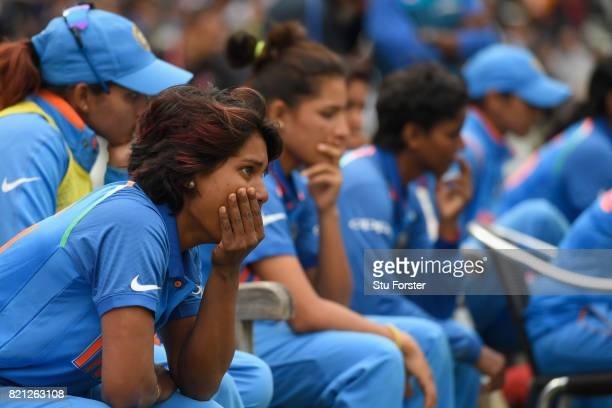 India batsman Punam Raut and team mates reacts after the ICC Women's World Cup 2017 Final between England and India at Lord's Cricket Ground on July...
