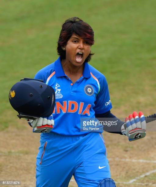 India batsman Punam Raut celebrates reaching her century during the ICC Women's World Cup 2017 match between Australia and India at The County Ground...
