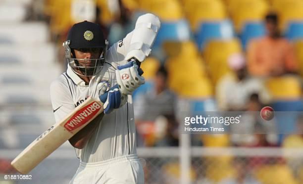 India batsman Rahul Dravid bats on the first day of the first test match between India and Sri Lanka at Sardar Patel Stadium at Ahmedabad