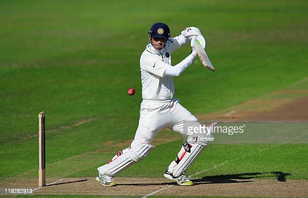 India batsman Rahul Dravid pick up some runs during day two of the tour match between Somerset and India at the county ground on July 16, 2011 in...