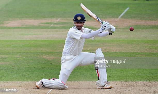 India batsman Rahul Dravid picks up some runs during day three of the 1st npower test match between England and India at Lords on July 23, 2011 in...