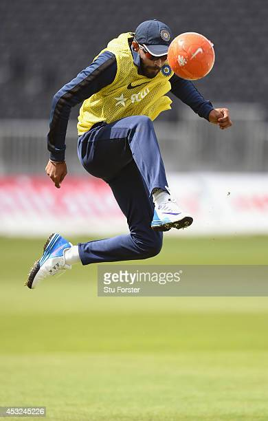 India batsman Ravindra Jadeja in action during a game of football during India nets nets ahead of the 4th Test match between England and India at Old...