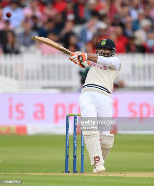 India batsman Ravindra Jadeja in batting action on Ruth Strauss Foundation Day during day two of the Second Test Match between England and India at...