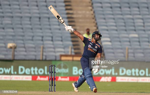 India batsman Rishabh Pant hits out during the 2nd One Day International between India and England at MCA Stadium on March 26, 2021 in Pune, India.