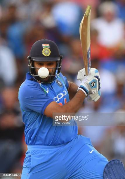 India batsman Rohit Sharma cuts a ball during 3rd ODI Royal London One Day match between England and India at Headingley on July 17 2018 in Leeds...