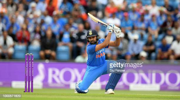 India batsman Rohit Sharma drives during 3rd ODI Royal London One Day match between England and India at Headingley on July 17 2018 in Leeds England