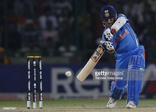 India batsman Sachin Tendulkar in action against the Netherlands during the World Cup Group B match at the Ferozeshah Kotla in New Delhi on Wednesday.