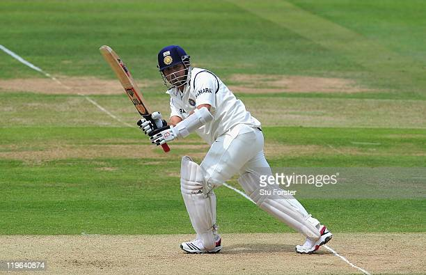 India batsman Sachin Tendulkar picks up some runs during day three of the 1st npower test match between England and India at Lords on July 23, 2011...