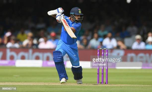 India batsman Shikhar Dhawan hits out during the 2nd ODI Royal London One Day International match between England and India at Lord's Cricket Ground...