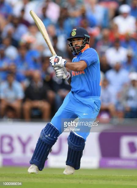 India batsman Shikkhar Dhawan hits out during 3rd ODI Royal London One Day match between England and India at Headingley on July 17 2018 in Leeds...