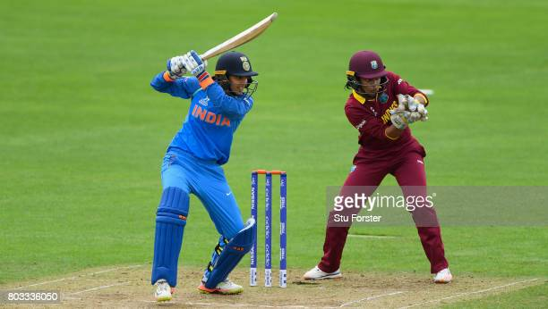 India batsman Smriti Mandhana hits out during the ICC Women's World Cup 2017 match between West Indies and India at The County Ground on June 29 2017...