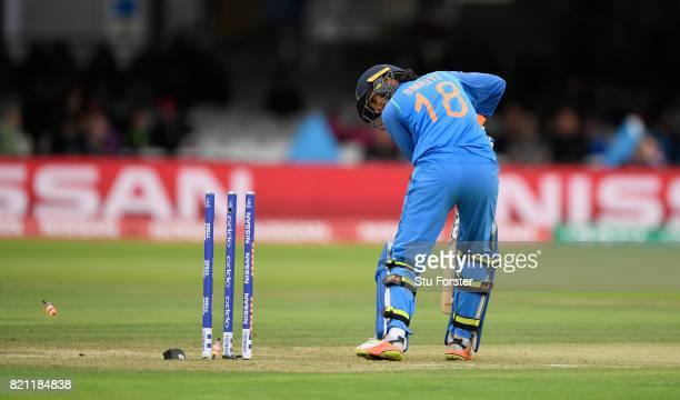 India batsman Smrtri Mandhana is bowled for 0 during the ICC Women's World Cup 2017 Final between England and India at Lord's Cricket Ground on July...