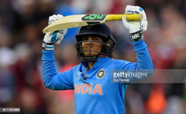 India batsman Veda Krishnamurthy reacts after being dismissed during the ICC Women's World Cup 2017 Final between England and India at Lord's Cricket...